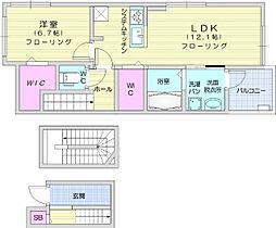 JR東北本線 南仙台駅 徒歩26分の賃貸アパート 3階1LDKの間取り