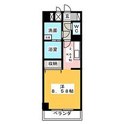 あさひグランレジデンシア高崎II 2階1Kの間取り
