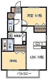 セジュールYMR A棟[102号室]の間取り