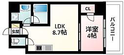 Osaka Metro御堂筋線 江坂駅 徒歩7分の賃貸マンション 6階1LDKの間取り