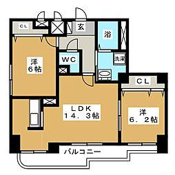 北海道札幌市中央区南十三条西9丁目の賃貸マンションの間取り