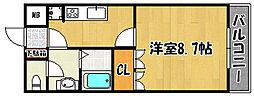 ラフォーレ 2階1Kの間取り