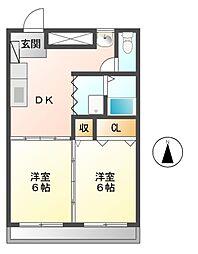 東信ハイツE[1階]の間取り