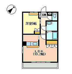 愛媛県伊予市本郡の賃貸アパートの間取り
