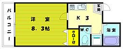 福岡県古賀市今の庄1丁目の賃貸マンションの間取り