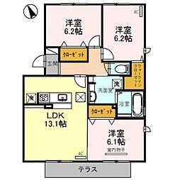 埼玉県熊谷市中央1丁目の賃貸アパートの間取り