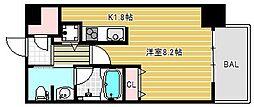 ベルファース大阪新町 2階1Kの間取り