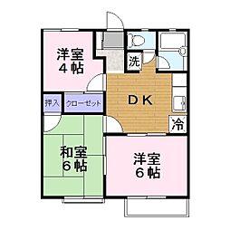 ワキタハイツA[2階]の間取り