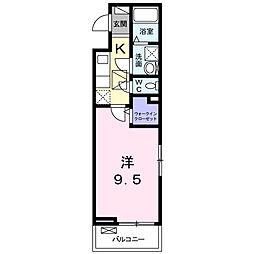 メゾン・ド・ブルーノアール 1階1Kの間取り