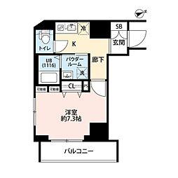 東京メトロ東西線 門前仲町駅 徒歩5分の賃貸マンション 2階1Kの間取り