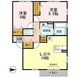 大阪府八尾市老原5丁目の賃貸アパートの間取り