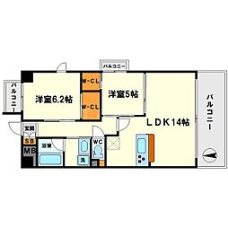 ボヌール新大阪[2階]の間取り