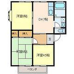 広島県呉市焼山ひばりヶ丘町の賃貸アパートの間取り