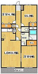 ランドロードU A棟[307号室]の間取り