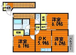 岡山県総社市福井の賃貸アパートの間取り