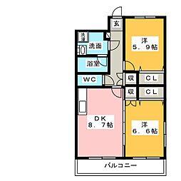 サニーハイツ三園[4階]の間取り