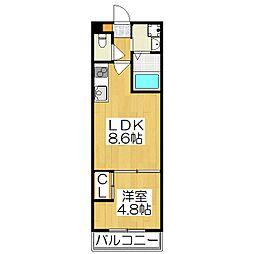仮)伏見区津知橋マンション 3階1LDKの間取り
