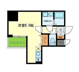 Y&Rino Residence 9階ワンルームの間取り