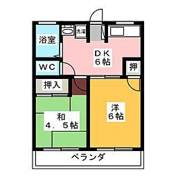 静岡県藤枝市兵太夫の賃貸アパートの間取り