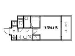Osaka Metro谷町線 天神橋筋六丁目駅 徒歩4分の賃貸マンション 2階1Kの間取り