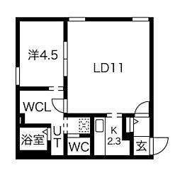 WESTWOOD(ウエストウッド) 3階1LDKの間取り