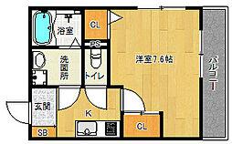 京阪本線 龍谷大前深草駅 徒歩10分の賃貸マンション 2階1Kの間取り