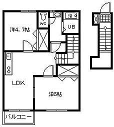 イーズ Ⅵ[2階]の間取り