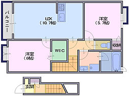 シエルブルー2[2階]の間取り