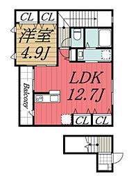 京成本線 京成佐倉駅 徒歩8分の賃貸アパート 2階1LDKの間取り