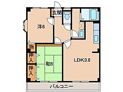和歌山県和歌山市西庄の賃貸マンションの間取り