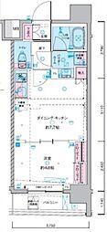 ジェノヴィア東神田グリーンヴェール 8階1DKの間取り