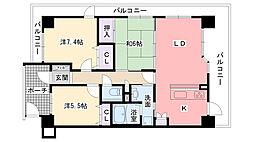 ヴェルビュ上甲子園2番館[7階]の間取り