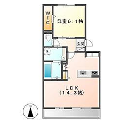 岡山県倉敷市児島下の町9丁目の賃貸アパートの間取り