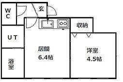 北海道札幌市南区澄川二条4丁目の賃貸アパートの間取り