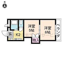 プリマベーラ西京極(旧ハウスセゾン西京極[406号室]の間取り