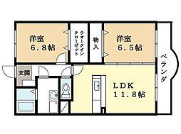 サンライズ京田辺[2階]の間取り