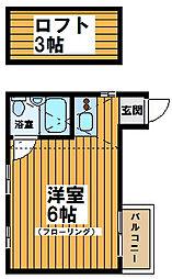 東京都中野区南台4丁目の賃貸アパートの間取り