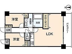ライオンズマンション楽々園第2[1階]の間取り