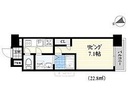 エスリード京橋グランテラス 5階1Kの間取り