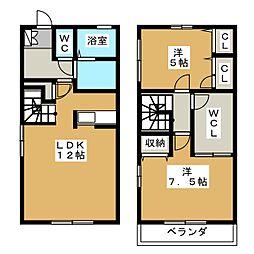 [テラスハウス] 静岡県静岡市駿河区北丸子2丁目 の賃貸【/】の間取り