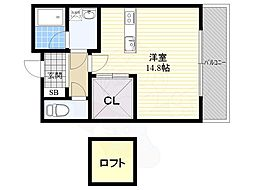 Casa de viola 3階ワンルームの間取り