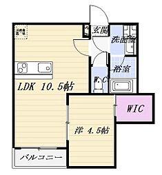 愛知県名古屋市中川区打中1の賃貸アパートの間取り