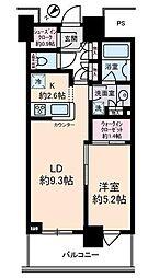 ザ・クレストタワー 13階1LDKの間取り