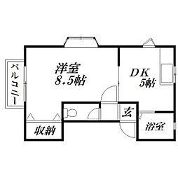 静岡県浜松市中区蜆塚4丁目の賃貸アパートの間取り
