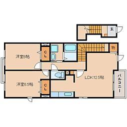 静岡県静岡市葵区与一1丁目の賃貸アパートの間取り