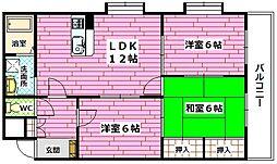 ハイリー中須[3階]の間取り