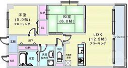Osaka Metro長堀鶴見緑地線 大正駅 徒歩12分の賃貸マンション 3階2LDKの間取り