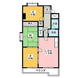 学戸スカイマンション[4階]の間取り