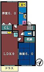 セジュール藤原[102号室]の間取り