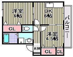 Le couple東羽衣A・B[A101号室]の間取り